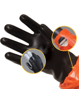 Photo showing the advantages of Kappler's 2N1 Glove System, with built-in liner
