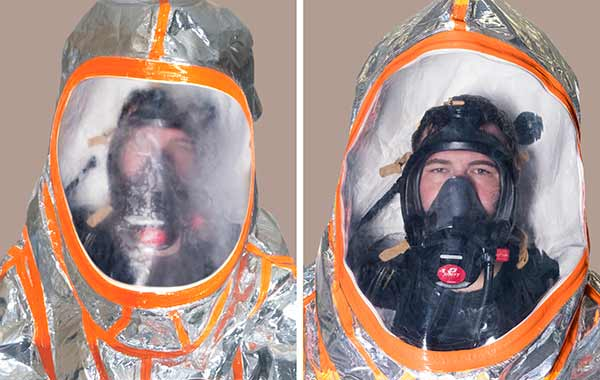 Comparative shot of a suit with and without Kappler's expanded view antifog visor system Kappler's customer