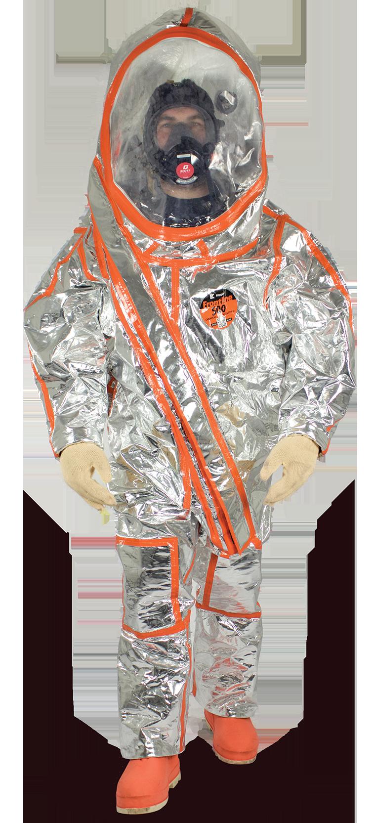 Frontline 500 vapor total encapsulating suit with expanded view antifog visor system
