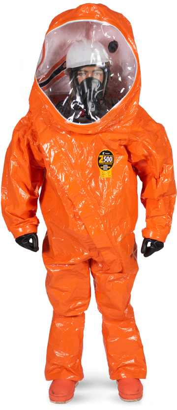 Worker in gray Zytron 500 coverall suit inspects a chemical spill